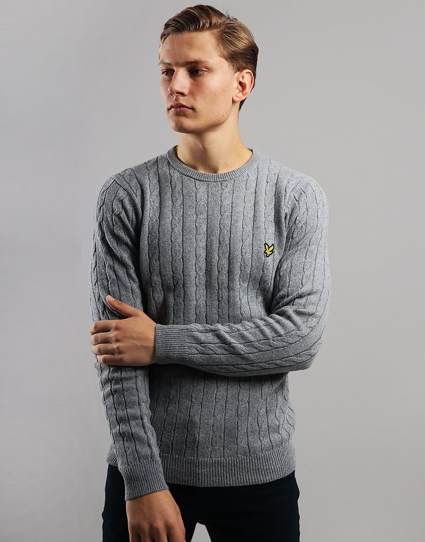 Lyle & Scott Cable Knit Crew Neck Jumper Mid Grey Marl