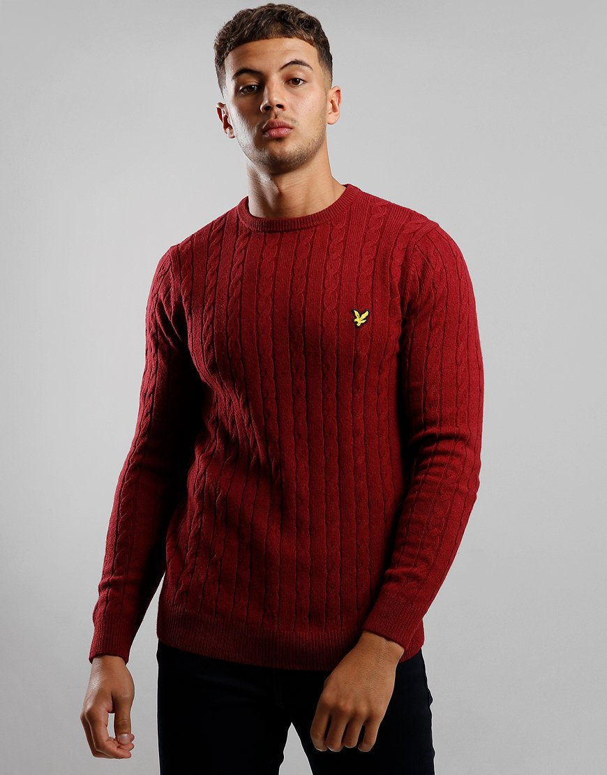 Lyle & Scott Cable Knit Crew Neck Jumper Claret Jug