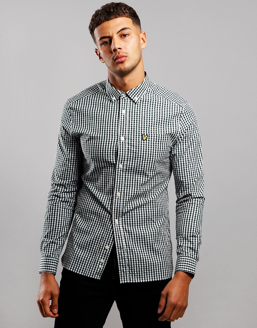 Lyle & Scott Long Sleeve Gingham Shirt Jade Green/White