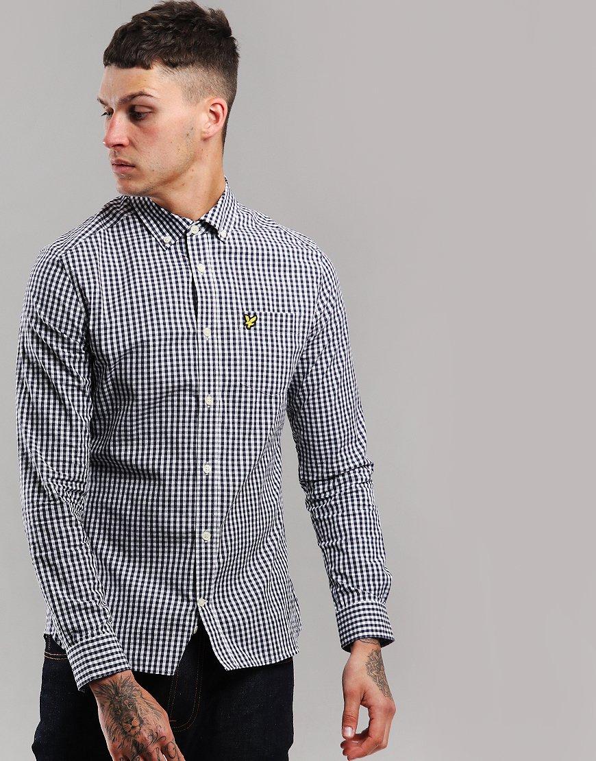 Lyle & Scott Long Sleeve Gingham Shirt Navy/White