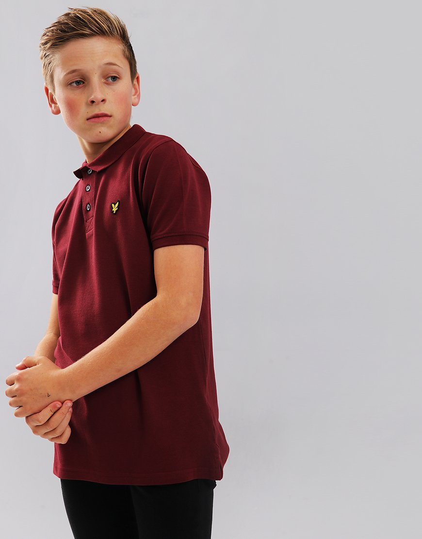 Lyle & Scott Junior Classic Plain Polo Shirt Claret Jug