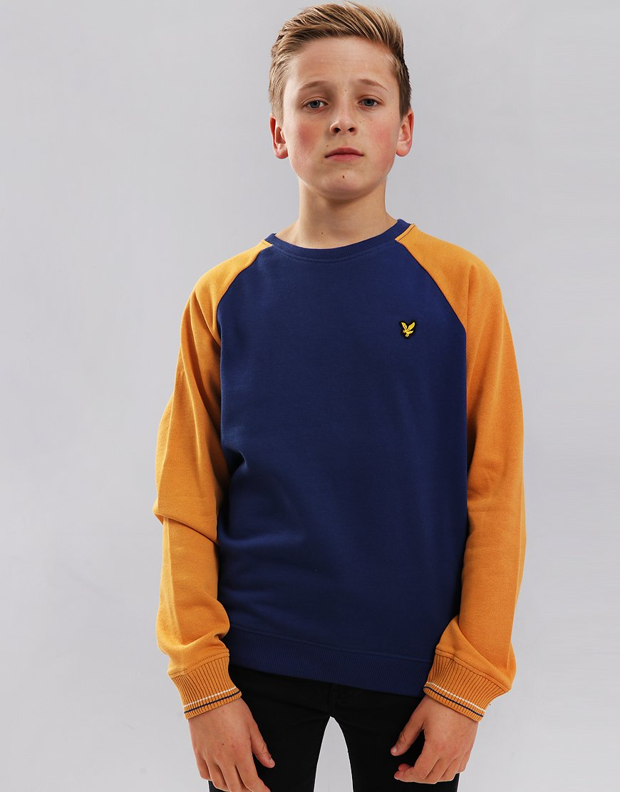 Lyle & Scott Junior Reverse Texture Raglan Sweatshirt Twilight Blue