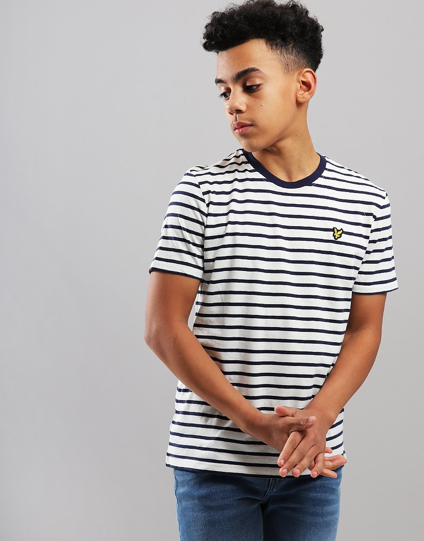 Lyle & Scott Junior Breton Stripe T-Shirt Deep Indigo