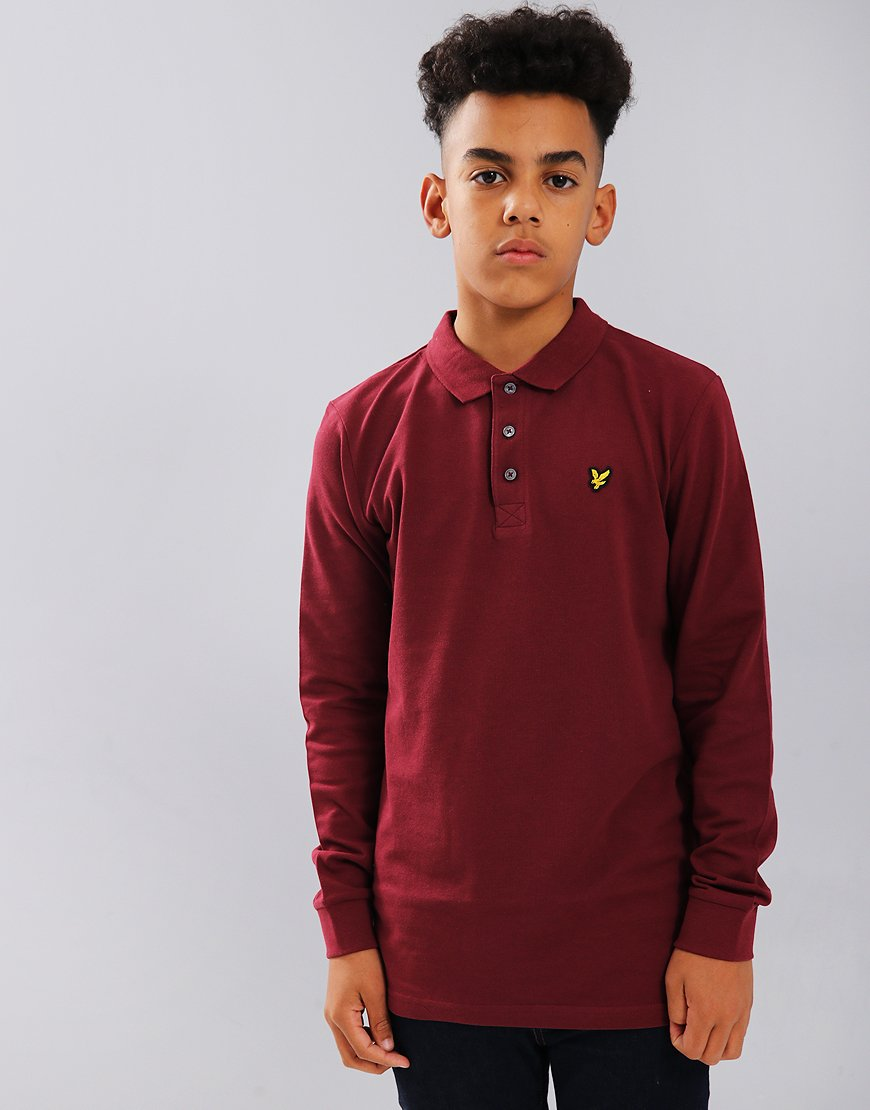 Lyle & Scott Junior Classic Long Sleeve Polo Shirt Claret Jug