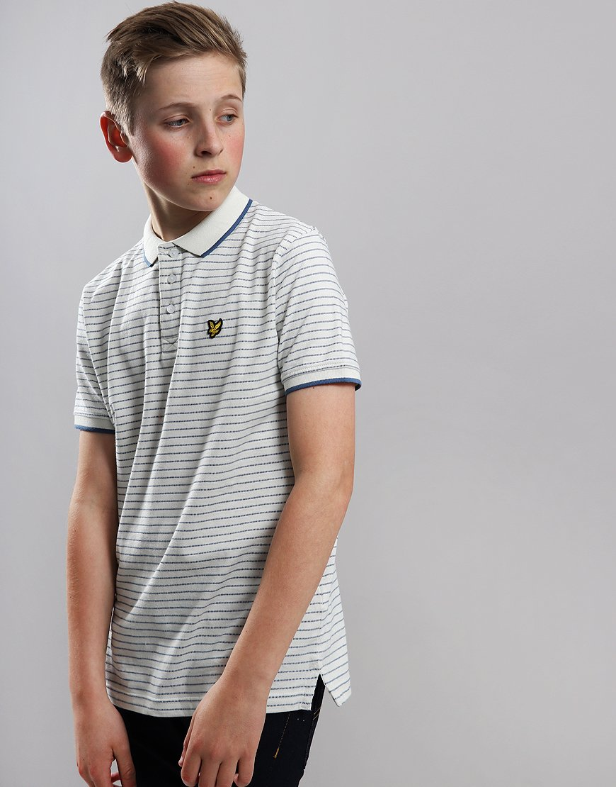 Lyle & Scott Junior Textured Stripe Polo Shirt Snow White