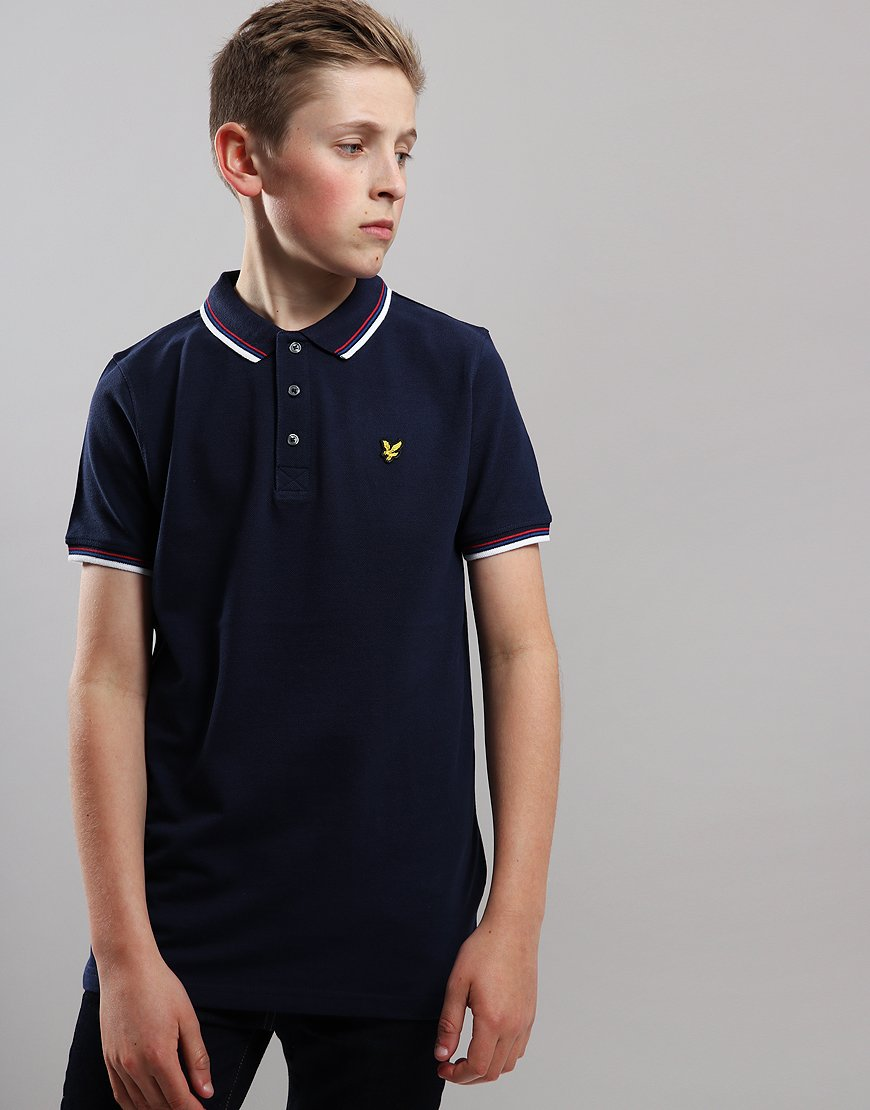 Lyle & Scott Junior Tipped Polo Shirt Navy