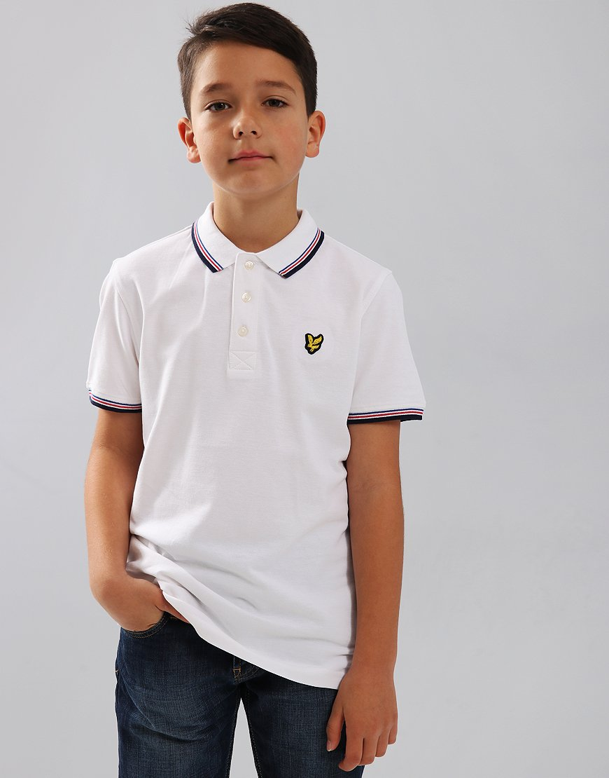 Lyle & Scott Junior Tipped Polo Shirt White