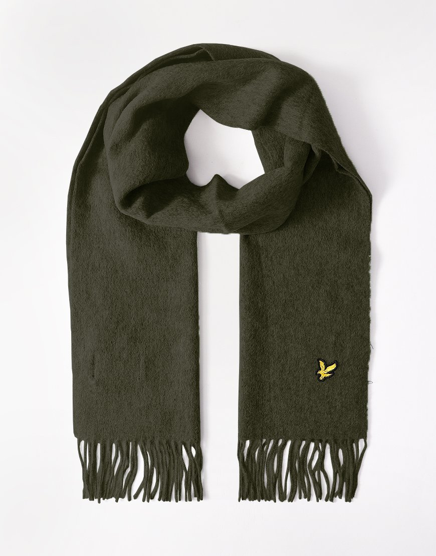 Lyle & Scott Lambswool Scarf Woodland Green