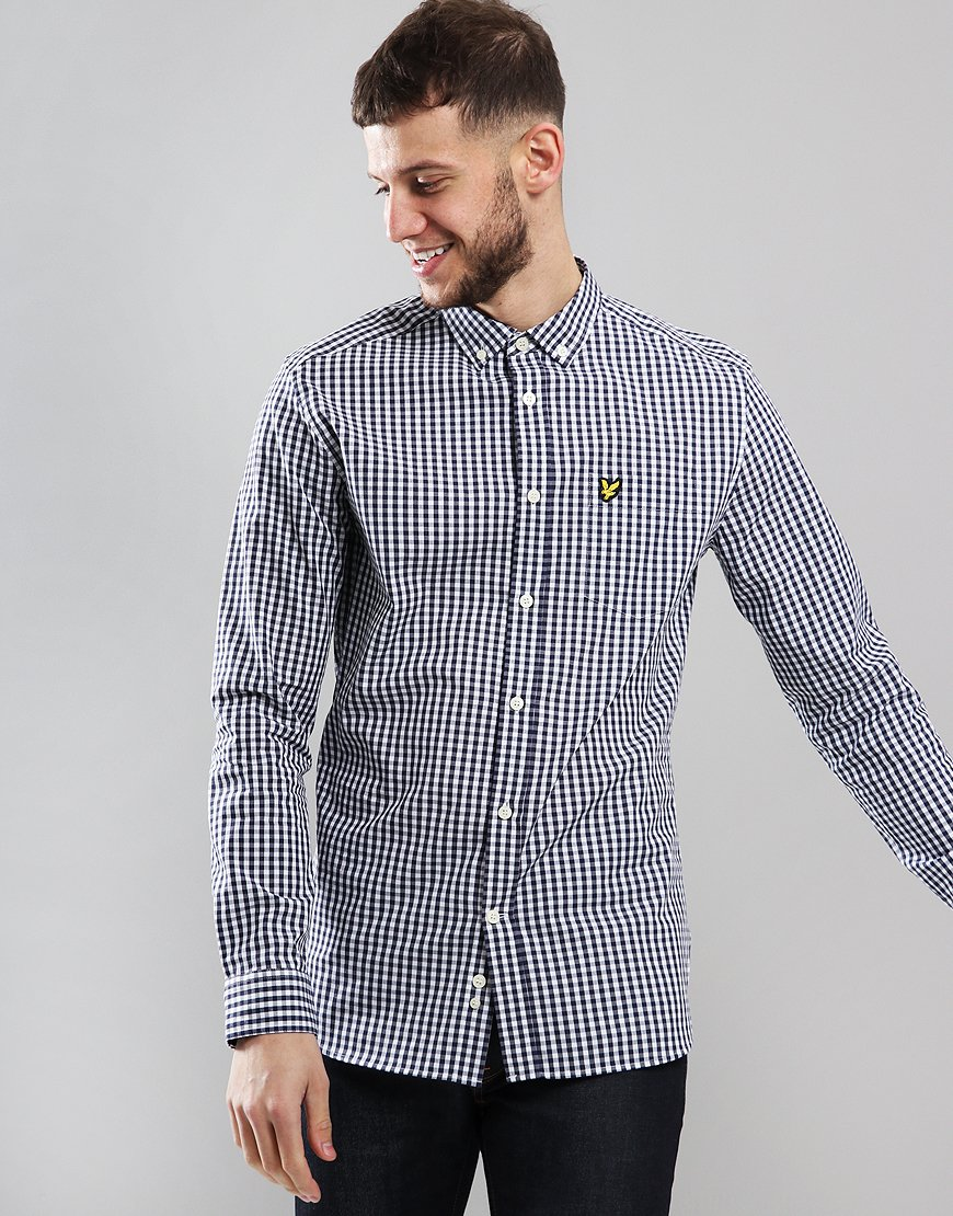 Lyle & Scott Long Sleeve Gingham Shirt Navy