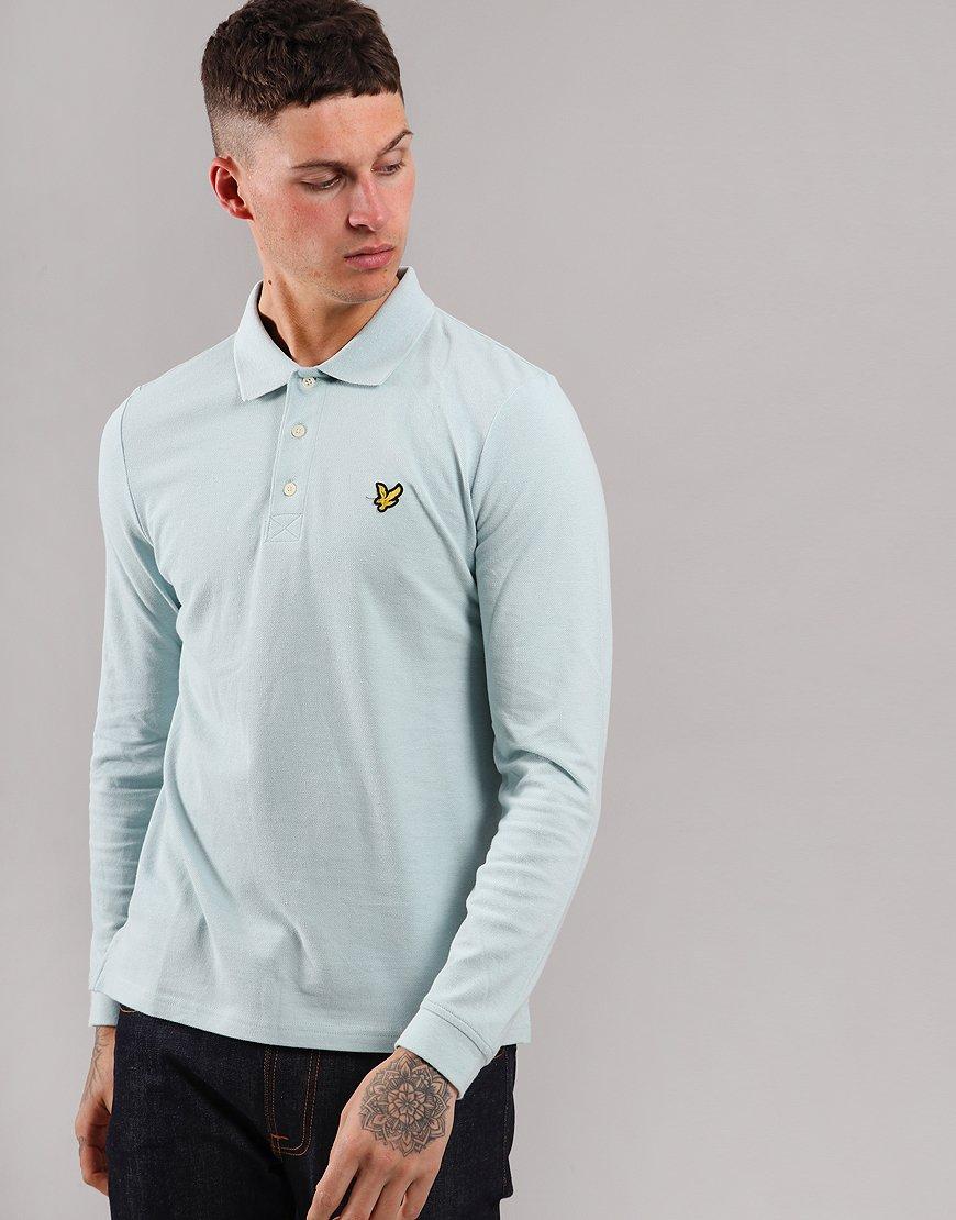 Lyle & Scott Long Sleeve Polo Shirt Blue Shore