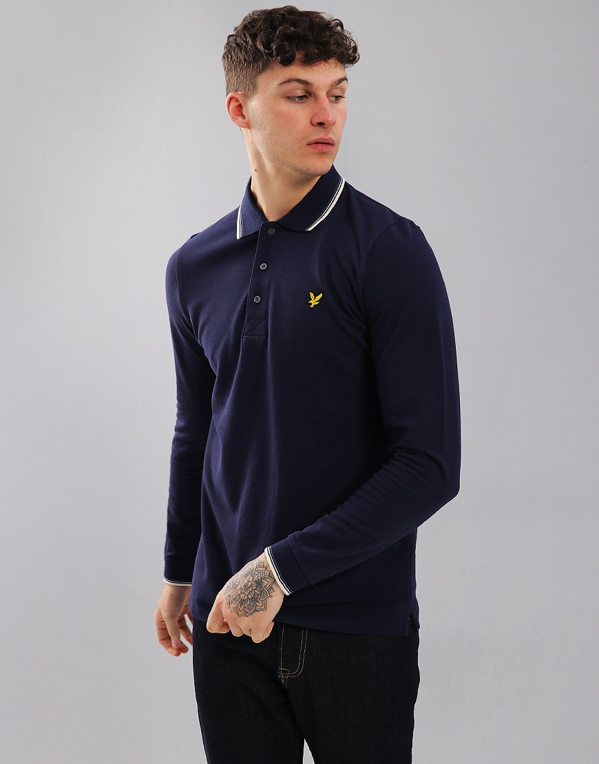 Lyle & Scott Long Sleeved Tipped Polo Shirt Navy