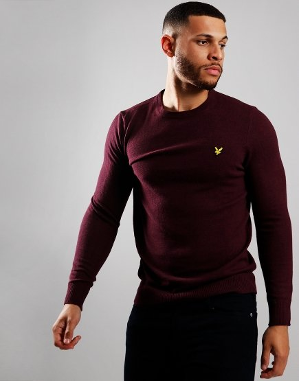 Lyle & Scott Merino Crew Neck Knitted Jumper Burgundy Marl