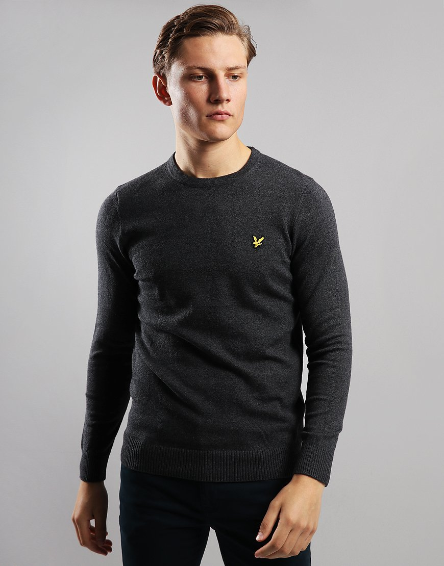 Lyle & Scott Merino Crew Neck Knitted Jumper Charcoal Marl