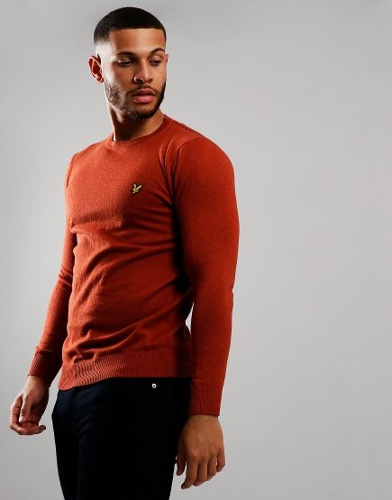 Lyle & Scott Merino Crew Neck Knitted Jumper Tobacco Marl