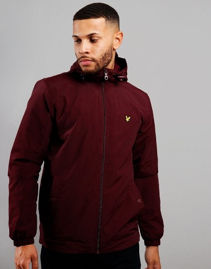 Lyle & Scott Micro Fleece Hooded Jacket Burgundy