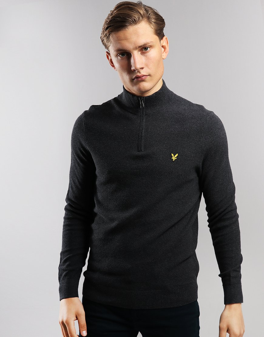 Lyle & Scott Moss Stitch 1/4 Zip Knit Charcoal Marl
