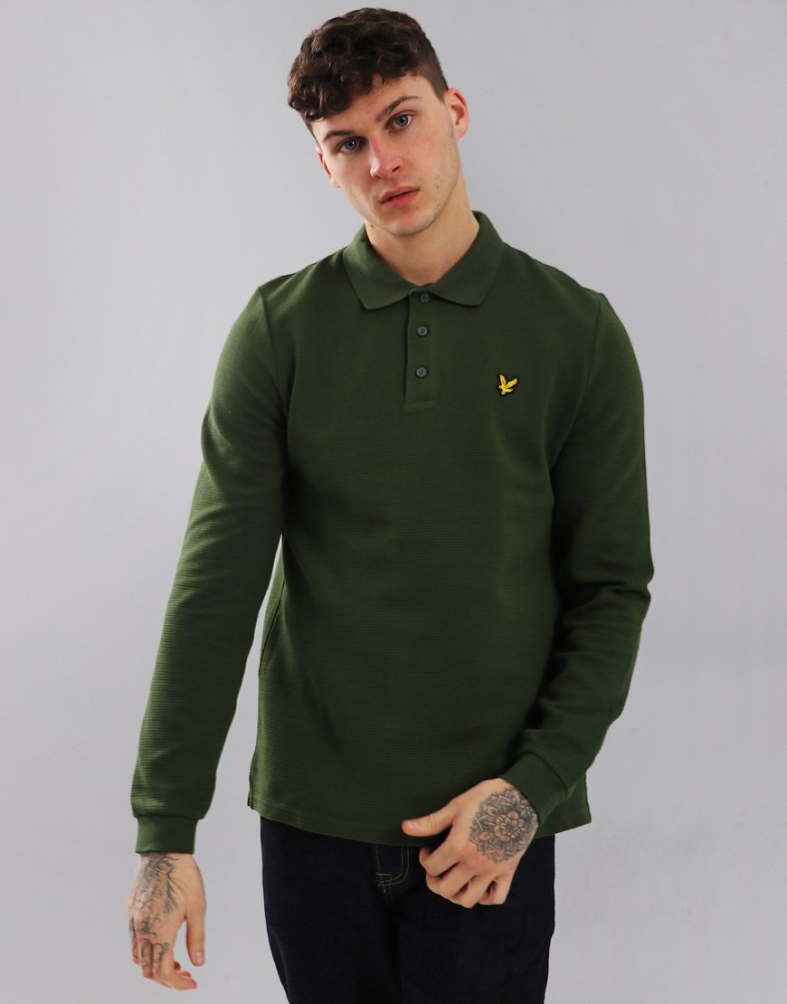 Lyle & Scott Ottoman Long Sleeve Polo Shirt Woodland Green