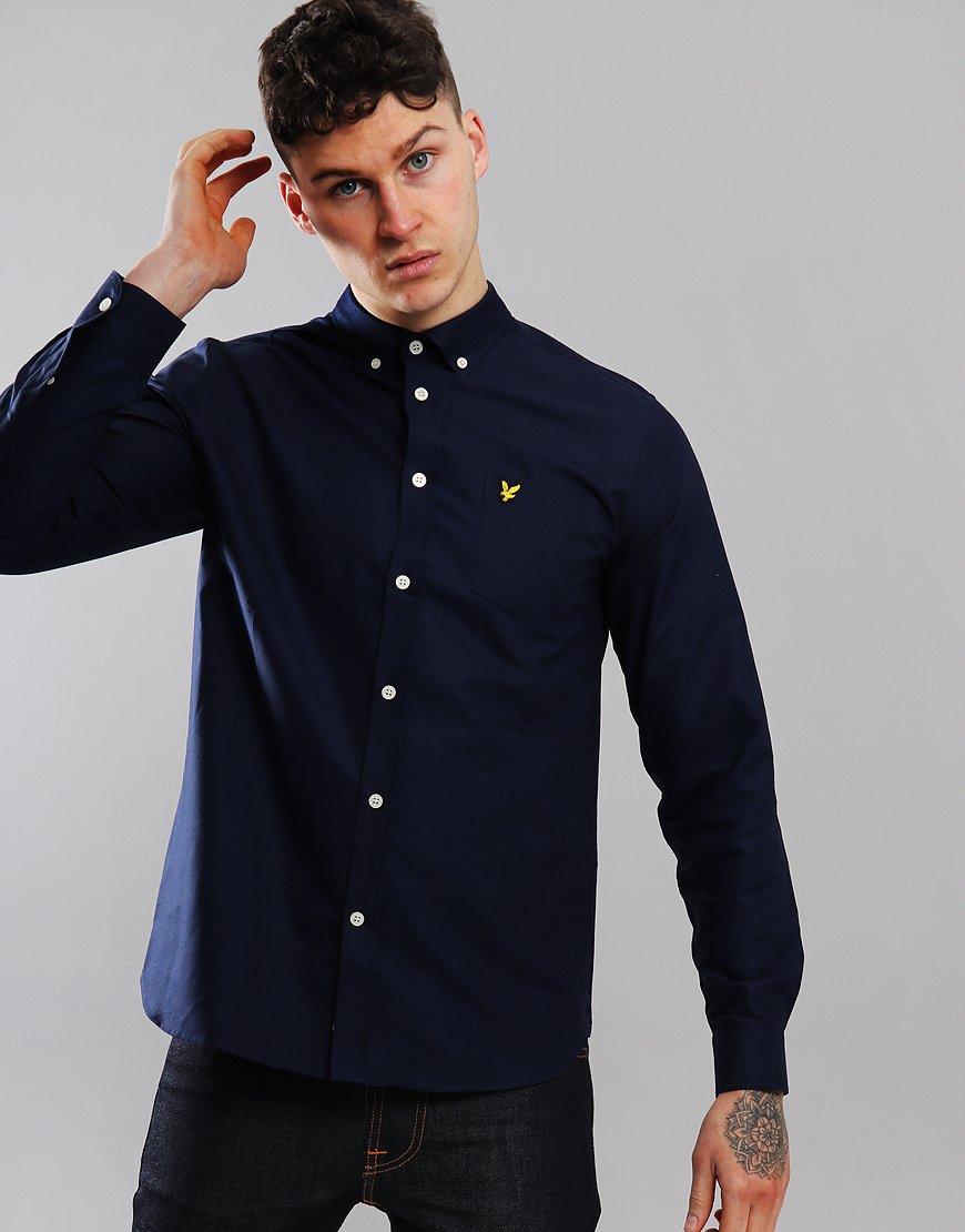 Lyle & Scott Long Sleeved Oxford Shirt  Navy