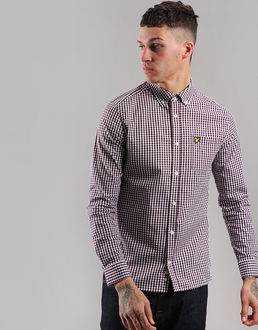 Lyle & Scott Long Sleeve Gingham Shirt Burgundy/White