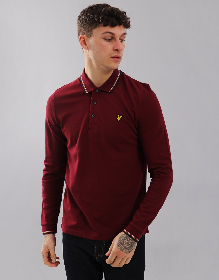 Lyle & Scott Long Sleeved Tipped Polo Shirt Claret Jug