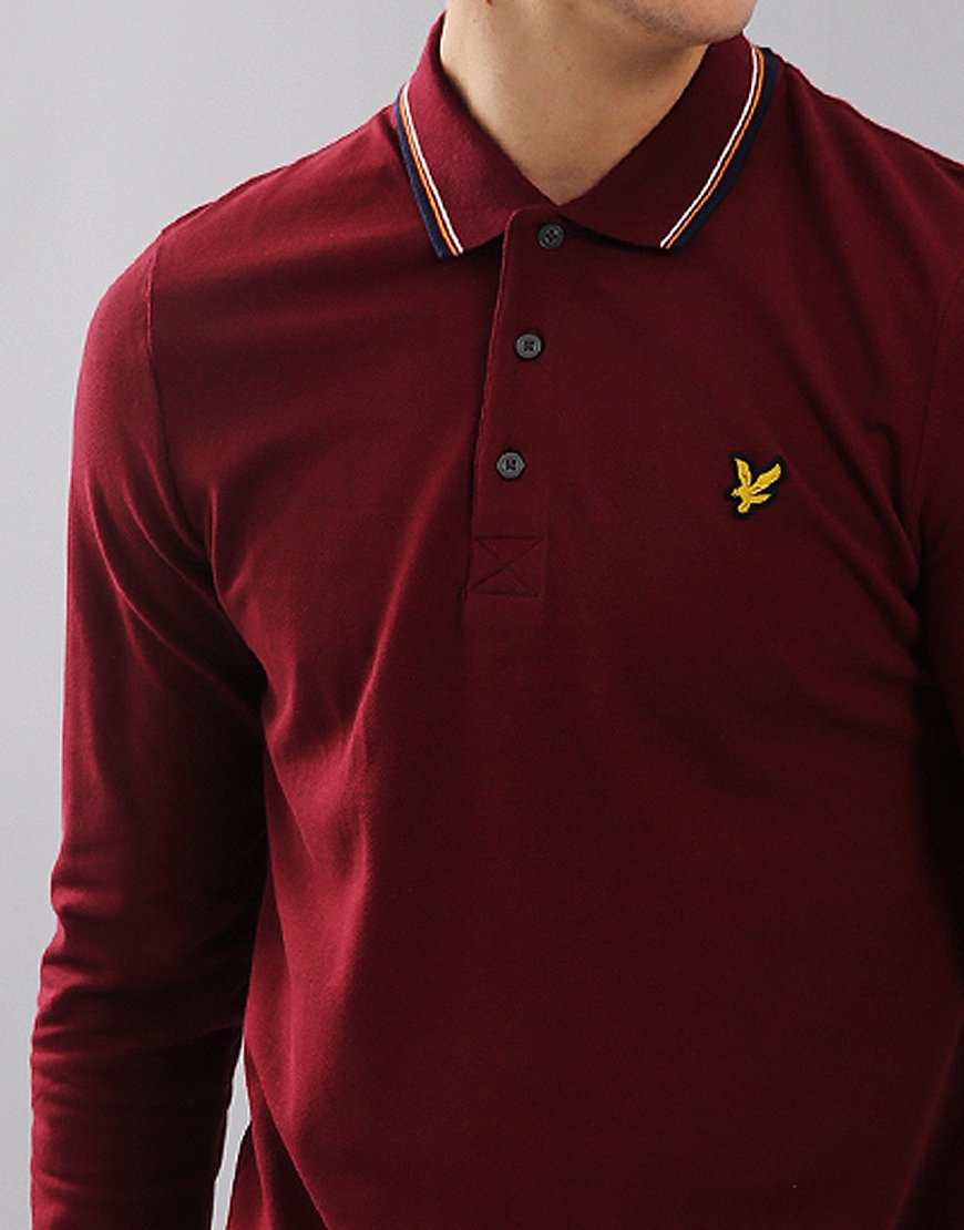 07b994d032cf Lyle   Scott Long Sleeved Tipped Polo Shirt Claret Jug - Terraces ...