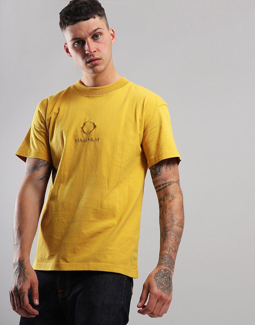 MA.Strum Garment Dyed Rib-Knit Collar T-Shirt Cadmium