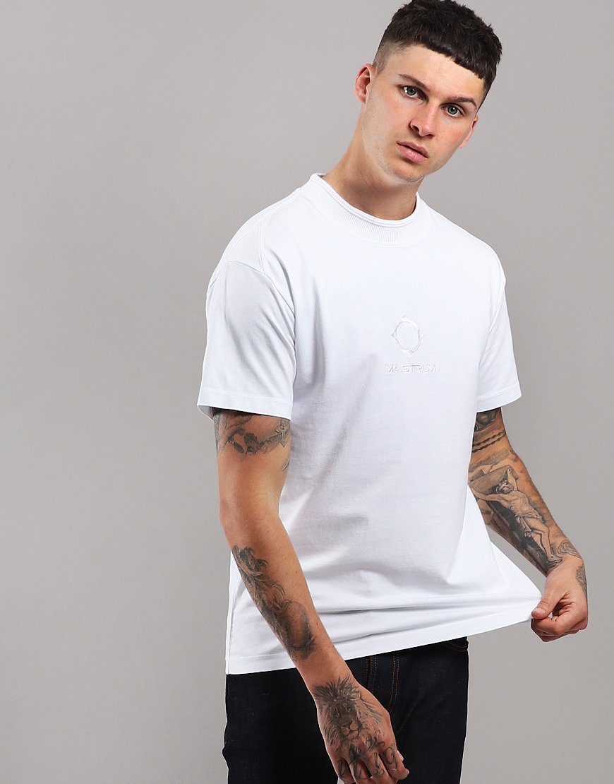 MA.Strum Garment Dyed Rib-Knit Collar T-Shirt Optic White