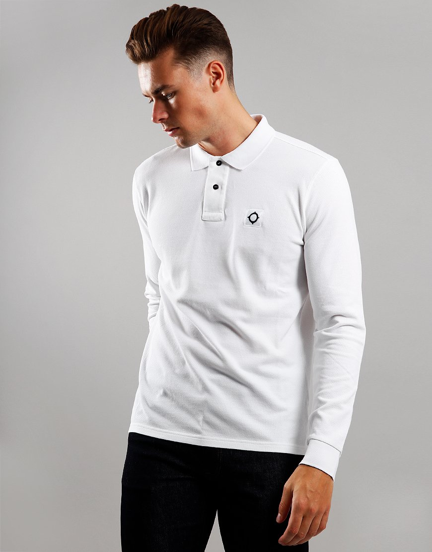 MA.Strum Long Sleeve Piqué Polo Shirt Optic White