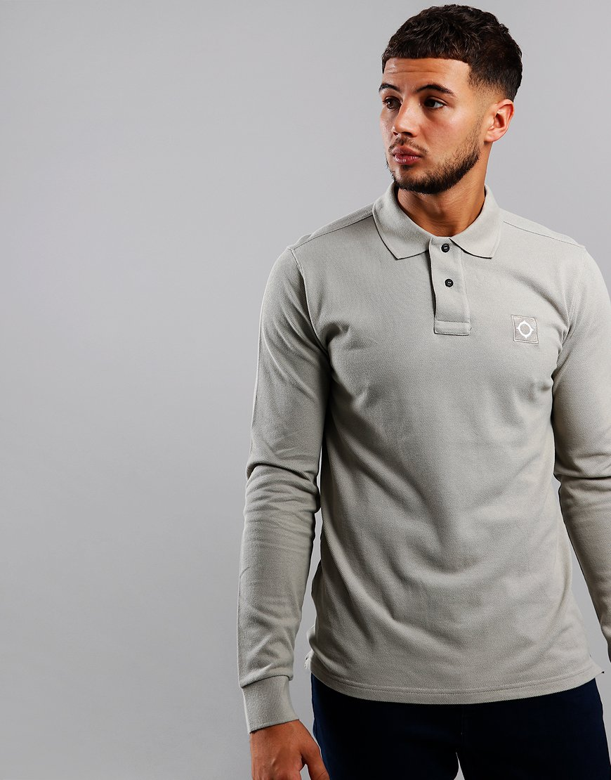 MA.Strum Long Sleeve Piqué Polo Shirt Silver Goose