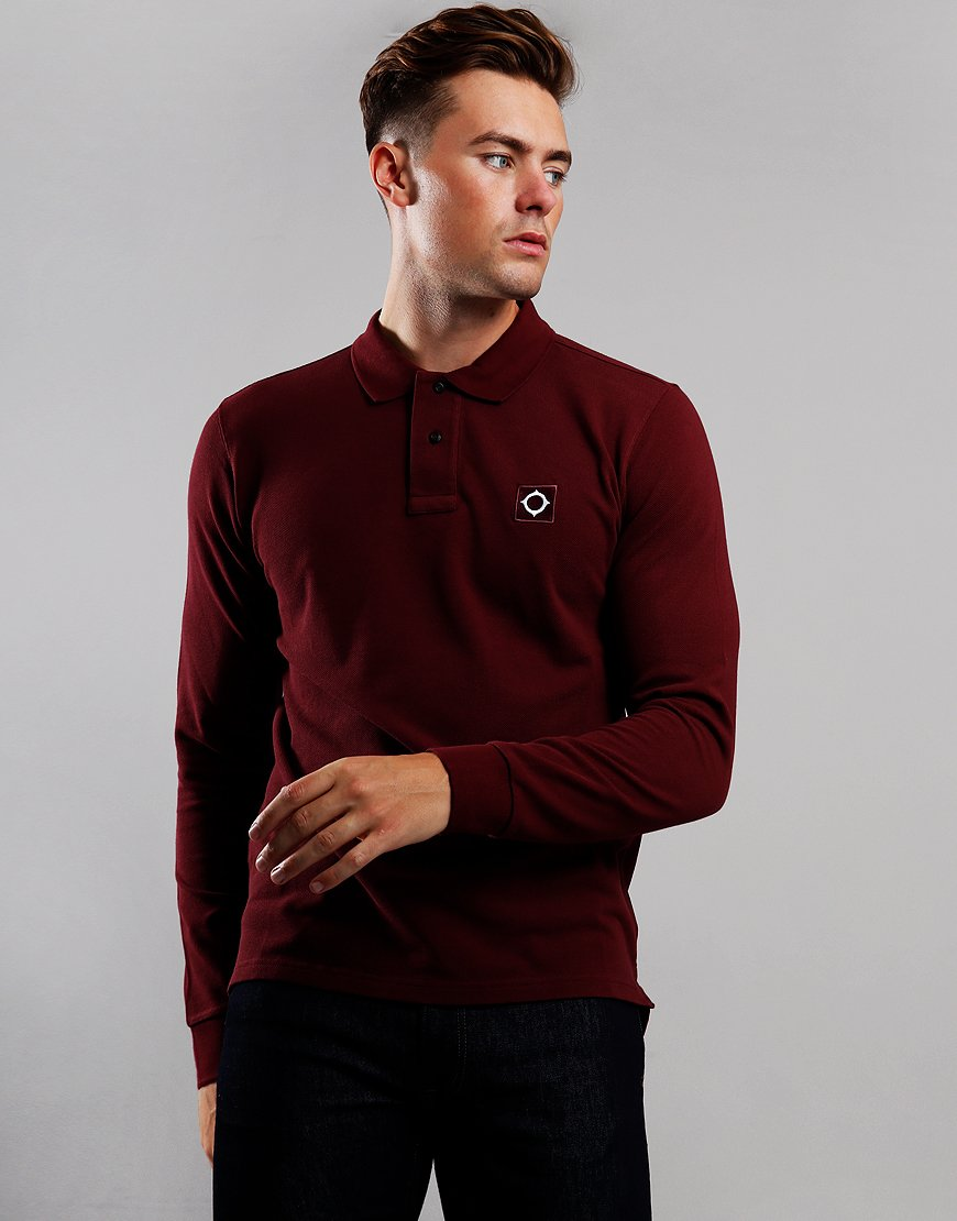 MA.Strum Long Sleeve Piqué Polo Shirt Spartan Red