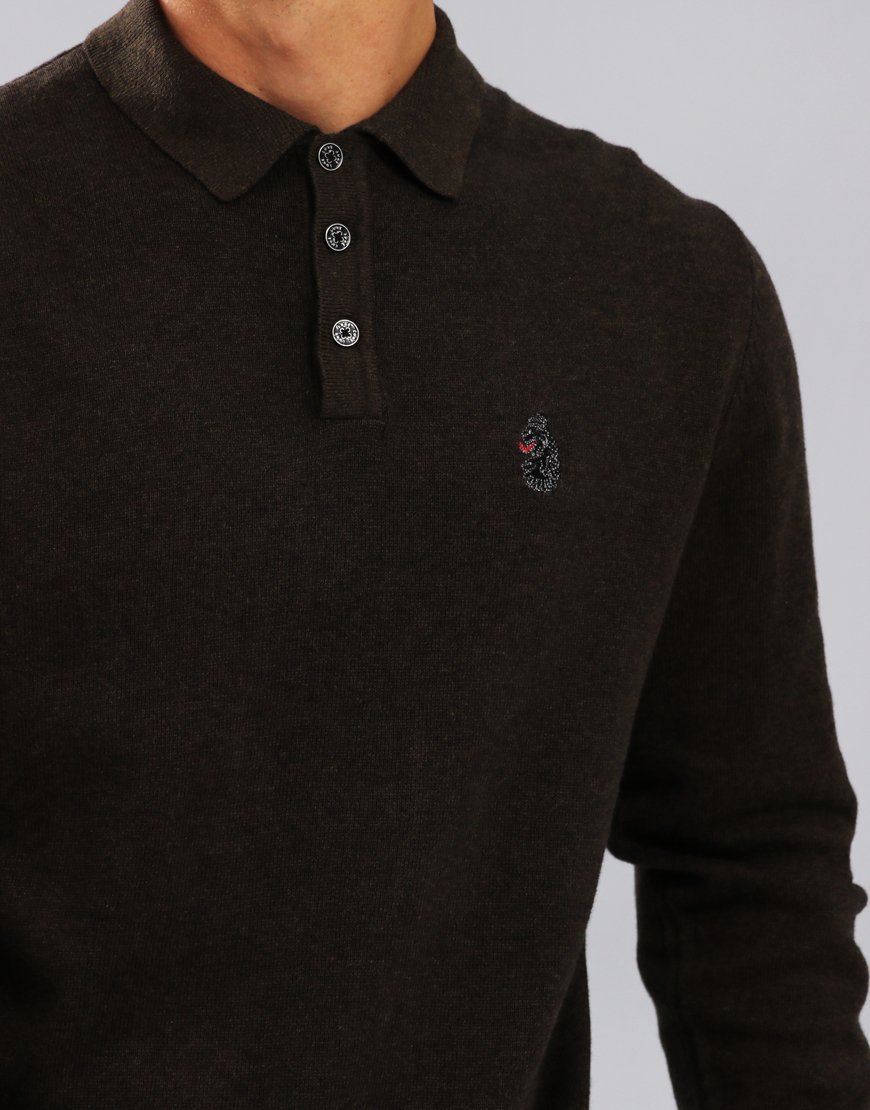 Luke 1977 Magnesium Long Sleeve Knitted Polo Shirt Khaki
