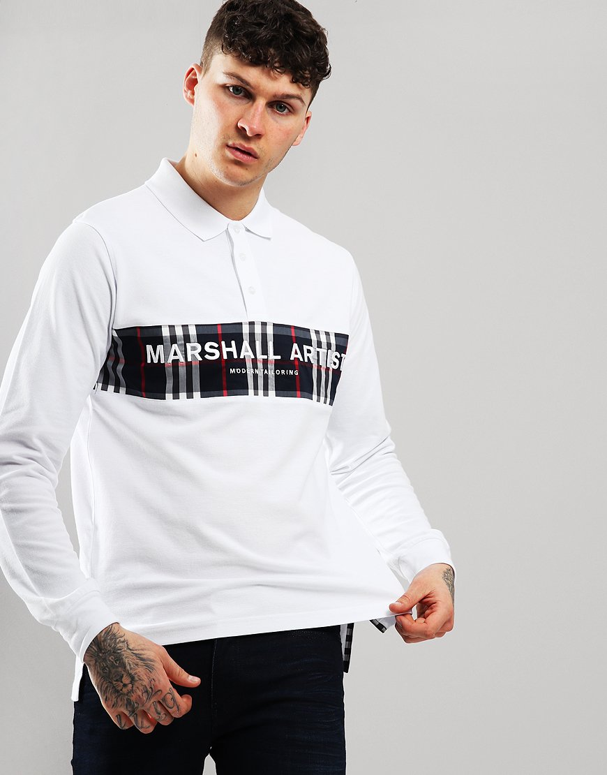 Marshall Artist Casa Long Sleeve Polo Shirt White