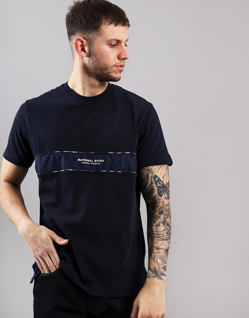 Marshall Artist Casa Check T-Shirt Navy