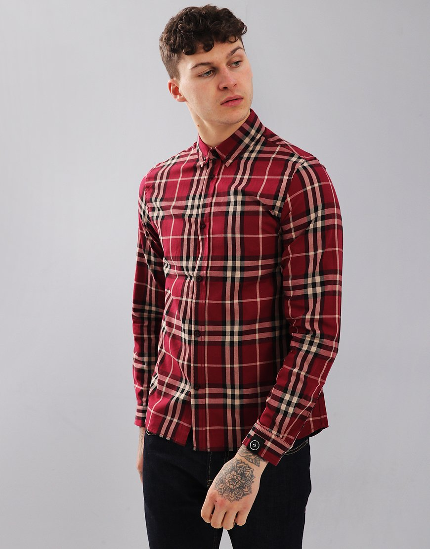 Marshall Artist Long Sleeve Check Shirt Burgundy