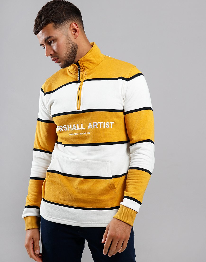 Marshall Artist Hoop Half Zip Sweat Mustard/White