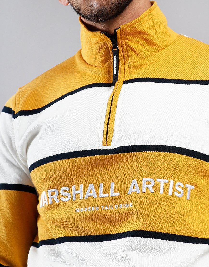 Marshall Artist Hoop Half Zip Sweat Mustard/White