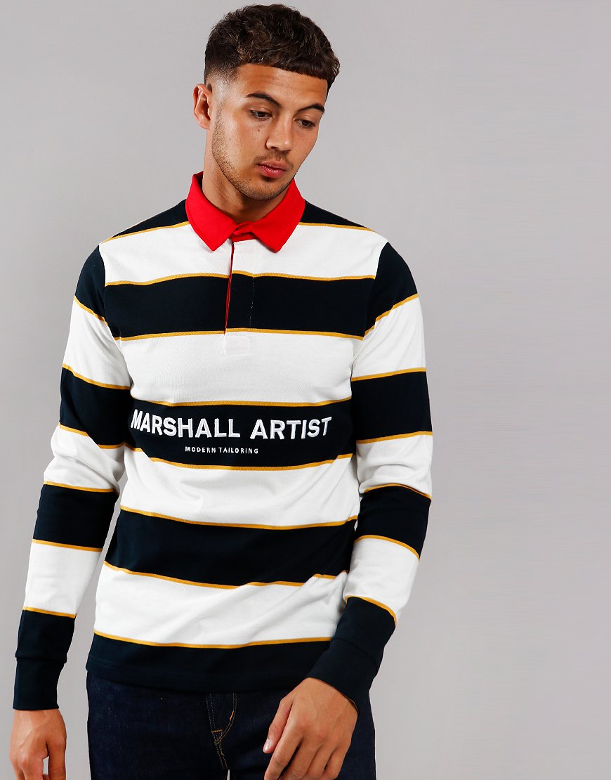 Marshall Artist Hoop Rugby Shirt Navy/White