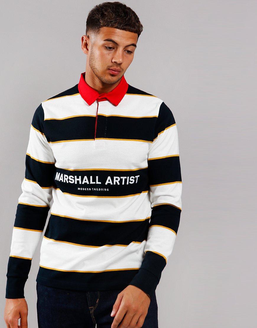 Marshall Artist Hoop Rugby Shirt Navy/White