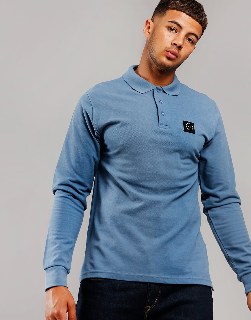 Marshall Artist Siren Long Sleeve Polo Shirt Quarry Blue