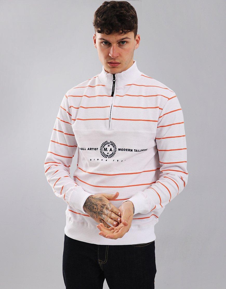 Marshall Artist Marine Stripe Zip Neck Sweat Quartz White