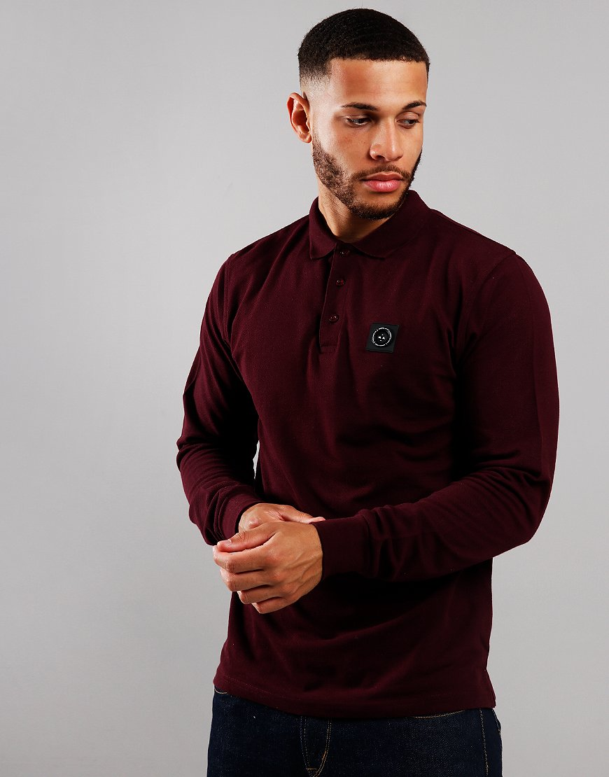 Marshall Artist Siren Long Sleeve Polo Burgundy