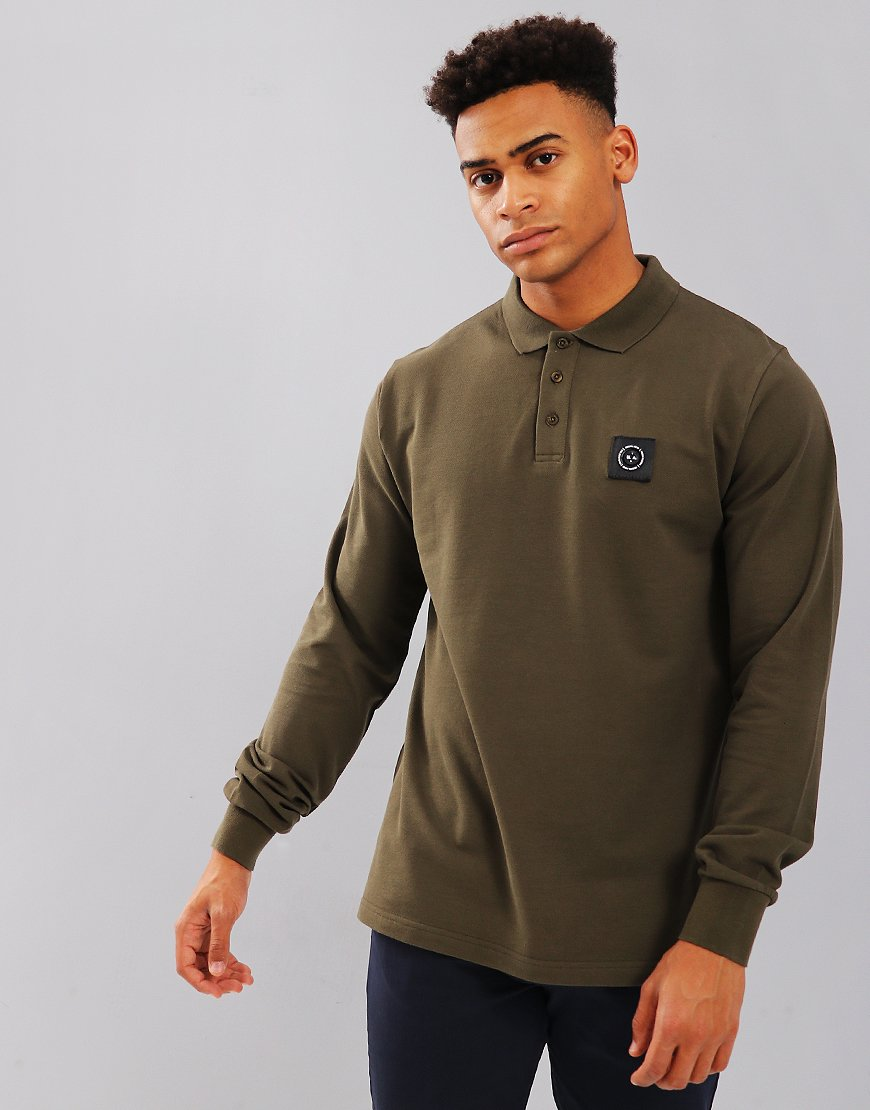 Marshall Artist Siren Long Sleeve Polo Shirt Khaki