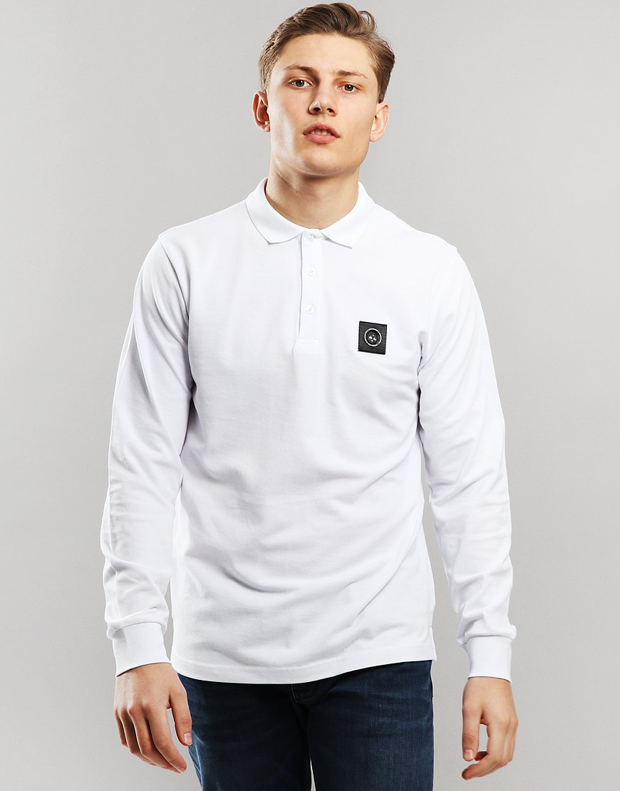 Marshall Artist Siren Long Sleeve Polo Shirt White