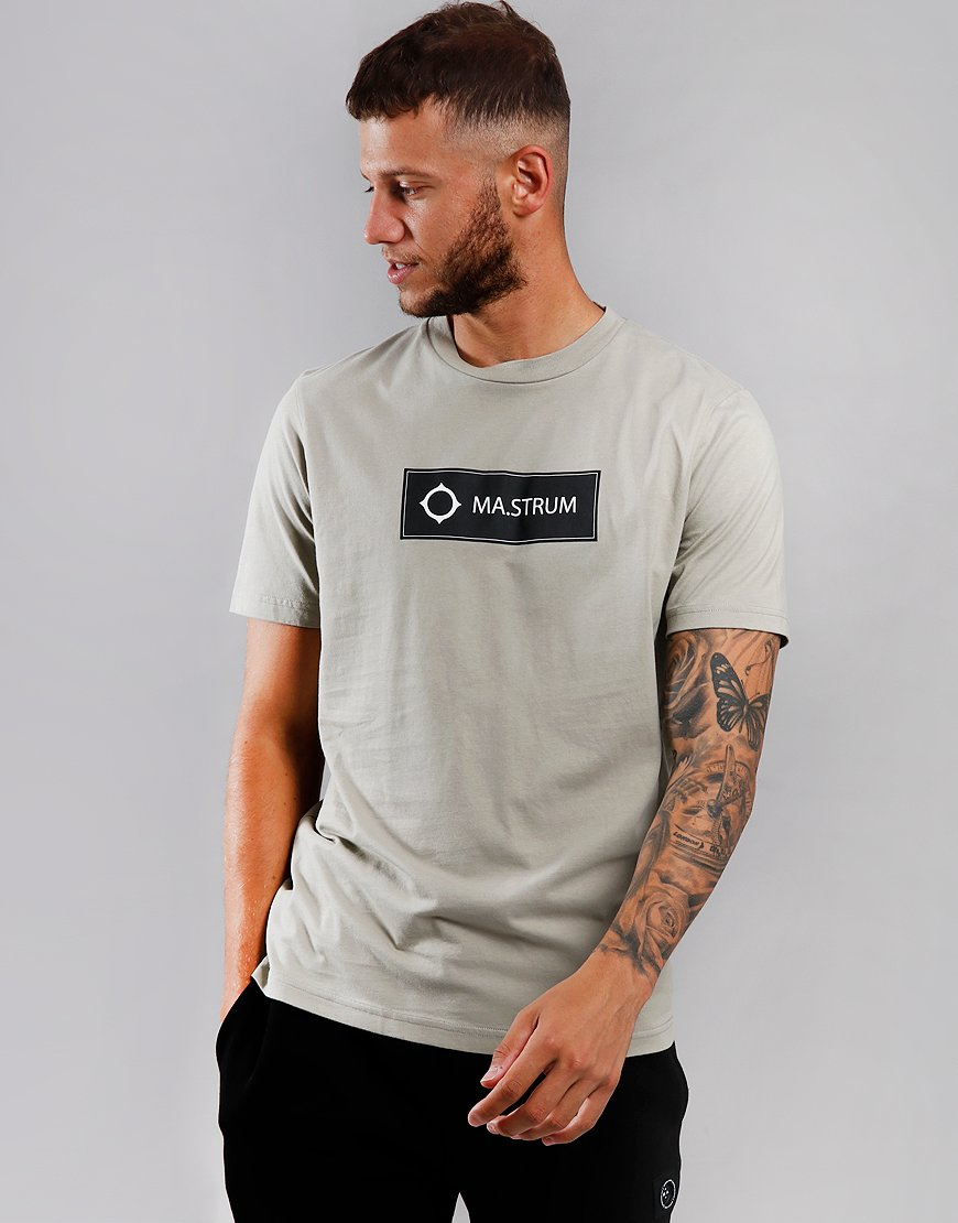 MA.Strum Icon Box Print T-Shirt Silver Goose