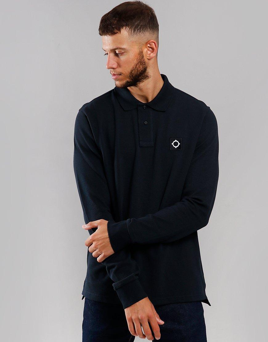 MA.Strum Long Sleeve Piqué Polo Shirt Dark Navy