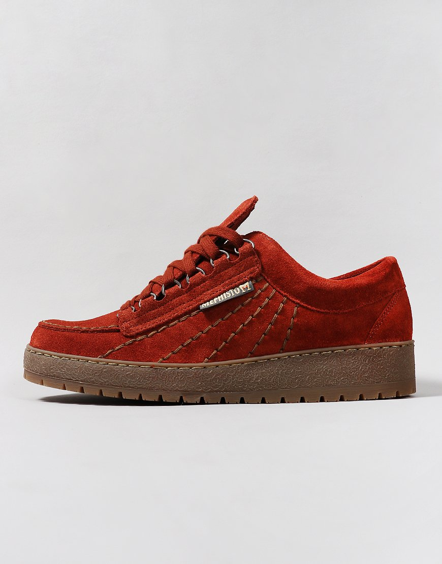 Mephisto Rainbow Velour Suede Eco Shoes Rust
