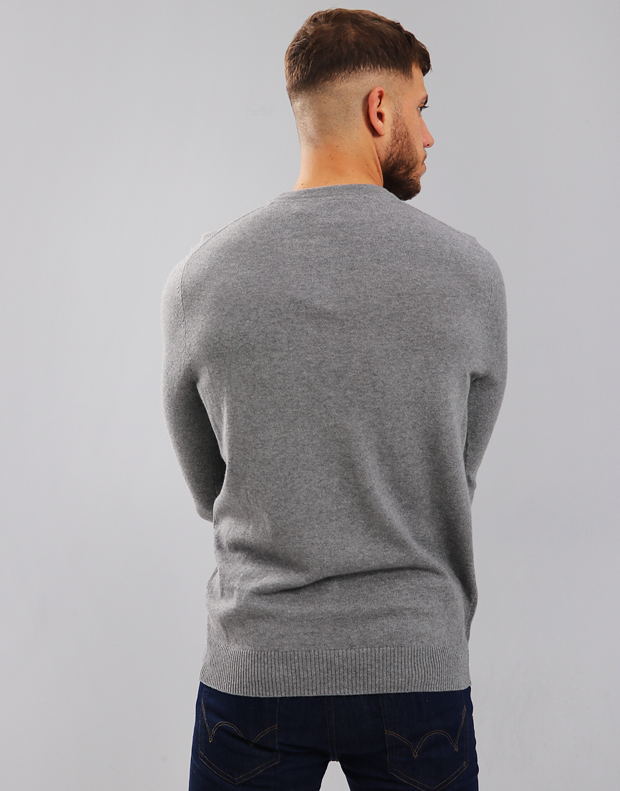 Lyle & Scott Merino Crew Neck Knitted Jumper Mid Grey Marl