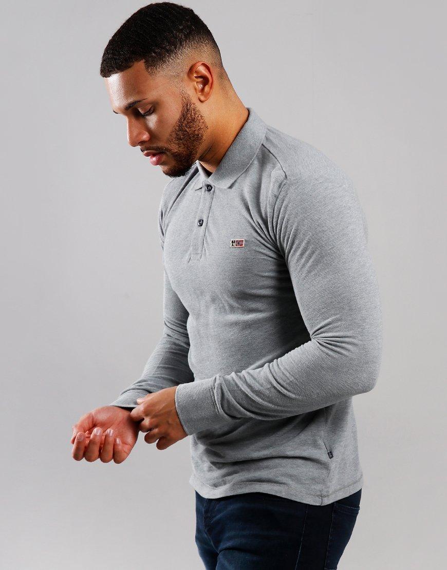 Napapijri Taly 2 Long Sleeve Polo Shirt Medium Grey Melange