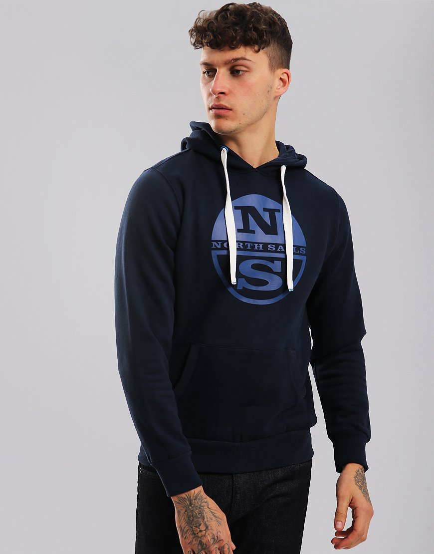 North Sails Logo Print Hoodie Navy Blue