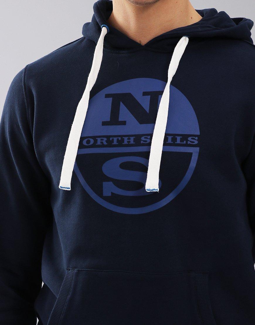 North Sails Logo Print Hoodie Navy Blue